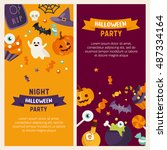 halloween banner set template.... | Shutterstock .eps vector #487334164