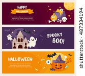 halloween horizontal banner set ... | Shutterstock .eps vector #487334194