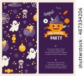 halloween banner set template.... | Shutterstock .eps vector #487334206