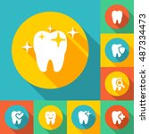 illustration of dental icons... | Shutterstock . vector #487334473