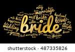 bride word cloud. golden text... | Shutterstock .eps vector #487335826