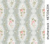 seamless floral pattern with... | Shutterstock .eps vector #487336204