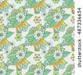 zentangle abstract flower.... | Shutterstock .eps vector #487336654