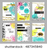 set of social media colorful... | Shutterstock .eps vector #487345840