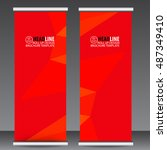 abstract red roll up banner... | Shutterstock .eps vector #487349410