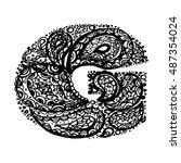 letter g. decorative alphabet... | Shutterstock .eps vector #487354024