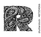 letter r. decorative alphabet... | Shutterstock .eps vector #487354066