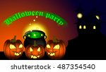 halloween party background with ... | Shutterstock .eps vector #487354540
