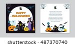 halloween concept banner with... | Shutterstock .eps vector #487370740