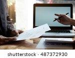 closeup coworkers crew working... | Shutterstock . vector #487372930