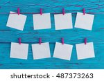 eight blank white memo pads... | Shutterstock . vector #487373263