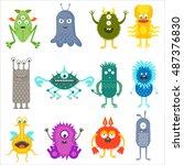 cartoon cute color animals... | Shutterstock .eps vector #487376830