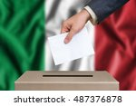 election in italy. the hand of... | Shutterstock . vector #487376878