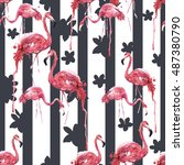 red flamingos  fashion seamless ... | Shutterstock . vector #487380790