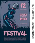 music poster template for rock... | Shutterstock .eps vector #487384678