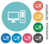 flat desktop computer icon set... | Shutterstock .eps vector #487389949