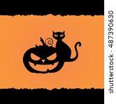 halloween pumpkin with creepy... | Shutterstock .eps vector #487390630