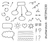 vector set of hand drawn signs... | Shutterstock .eps vector #487394230