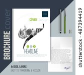 brochure cover template with... | Shutterstock .eps vector #487394419
