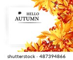 autumn background with fall... | Shutterstock .eps vector #487394866