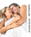 young happy couple in bed | Shutterstock . vector #48739894
