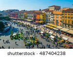 people are strolling among... | Shutterstock . vector #487404238