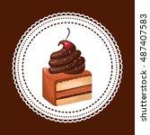 delicious cake baked goods... | Shutterstock .eps vector #487407583