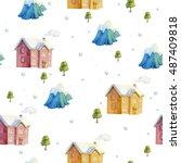 mountain town. seamless pattern.... | Shutterstock . vector #487409818