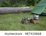 camping on the mountain top. | Shutterstock . vector #487410868