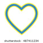yellow blue plastic heart... | Shutterstock . vector #487411234