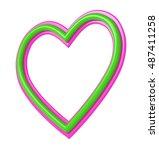green pink plastic heart... | Shutterstock . vector #487411258