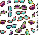 hipster sunglasses cartoon... | Shutterstock . vector #487414864