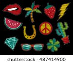 set of fashion patch icons with ... | Shutterstock . vector #487414900