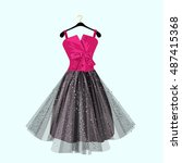 pink and dark party dress with ... | Shutterstock .eps vector #487415368