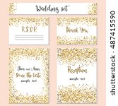 wedding set cards with the... | Shutterstock .eps vector #487415590