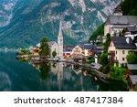 austria hallstatt  classic view ... | Shutterstock . vector #487417384