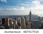 downtown manhattan skyline... | Shutterstock . vector #487417510