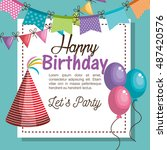 hat red happy birthday party... | Shutterstock .eps vector #487420576