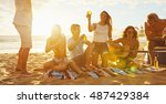 group of friends having fun... | Shutterstock . vector #487429384