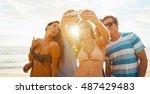 happy group of friends having... | Shutterstock . vector #487429483