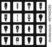 light bulb icons set in simple... | Shutterstock . vector #487434250