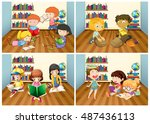 students reading book in room... | Shutterstock .eps vector #487436113