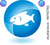 fish web button isolated on a... | Shutterstock .eps vector #48743782