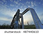 the pipe and valve oil fields | Shutterstock . vector #487440610