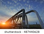 the pipe and valve oil fields | Shutterstock . vector #487440628