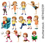 girls exercising and doing... | Shutterstock .eps vector #487443259
