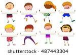 boys and girls holding blank... | Shutterstock .eps vector #487443304