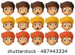 kids facial expression on white | Shutterstock .eps vector #487443334