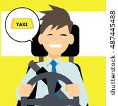 friendly taxi driver vector... | Shutterstock .eps vector #487445488
