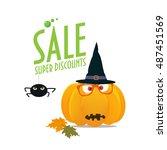 halloween sale illustration.... | Shutterstock .eps vector #487451569